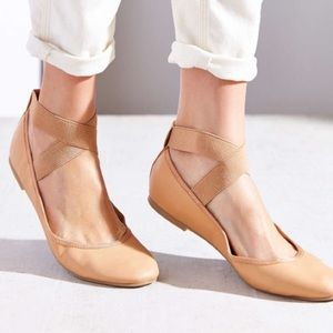 Urban outfitters Tan ankle strap ballet flats